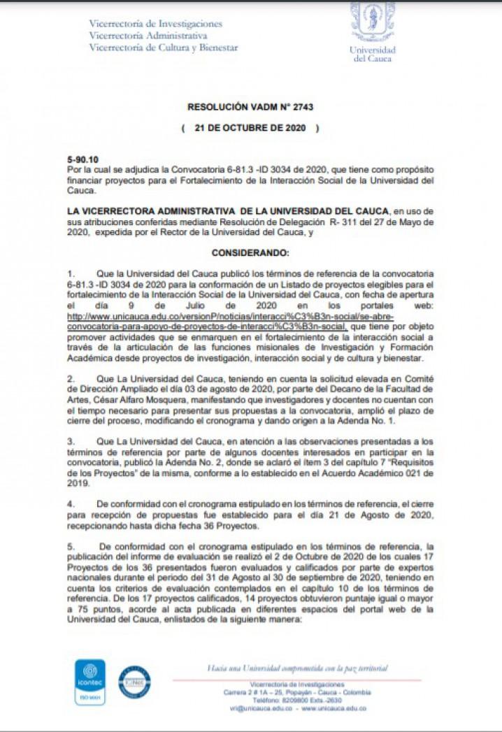 Resolución Adjudicación Convocatoria ID 3034
